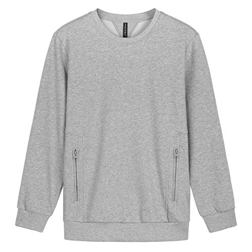 Innersy Men's French Terry Crewneck Heavyweight Pullover Sweatshirt with Pocket of Zip(XXX-Large, Light Gray)