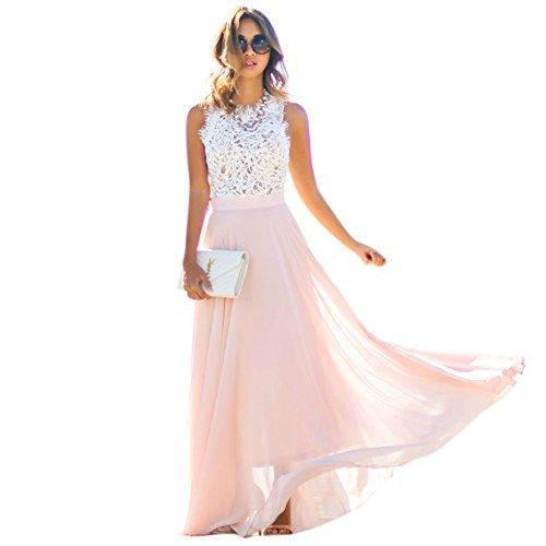 Daxin Women's Floral Lace Sleeveless Dress Party Wedding Beach Maxi Long Sundress Vestidos