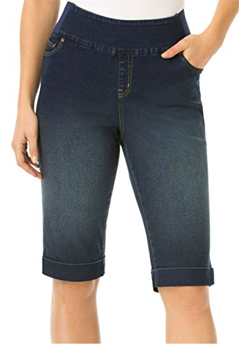 Bargain Catalog Outlet Woman Within Plus Size Smooth Waist Jean Shorts (Indigo Sanded,30 - Outlet Womens