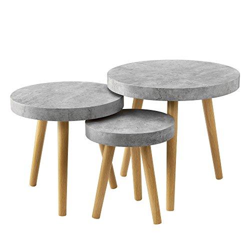 [en.casa] Set de 3 mesas de diseno - Mesa Auxiliar - Redondas - Apariencia de hormigon/Mesa de Centro/Mesa de sofa%0a