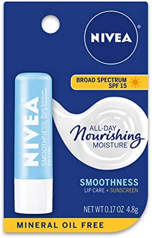 NIVEA Smoothness Lip Care - Broad Spectrum SPF 15 For Chapped Lips - .17 oz. Stick