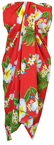 Sarong 10A Hibiscus Flower Beach Swimsuit Wrap  Bikini Cover up Pareo Red ()