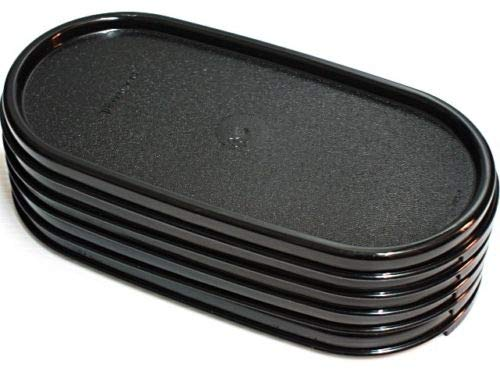 Tupperware Set of 5 Modular Mates OVAL Replacement Seals/Lids ONLY - BLACK -  Tupperware....