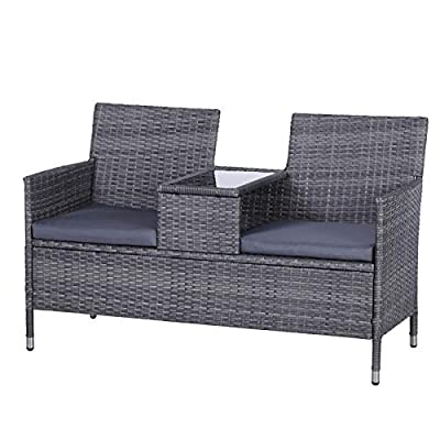 Outsunny Garden Grey Rattan Loveseat with Cushions