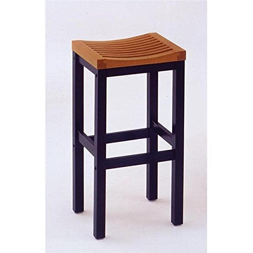 Cottage Oak and Black Backless Bar Stool 29''H Seat Oak/Black