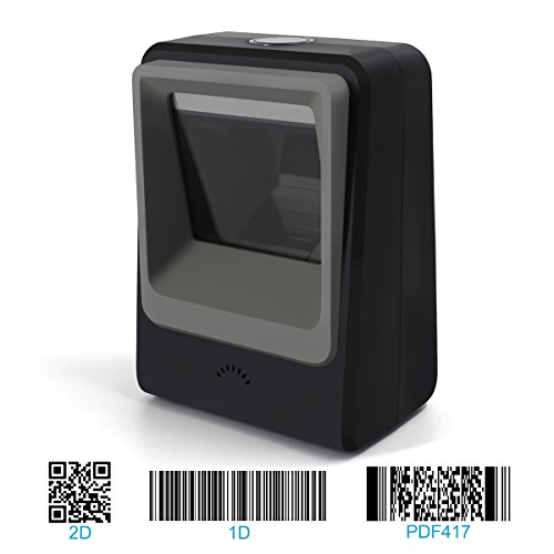 Handsfree 2D 1D Barcode Scanner,Alacrity QR Omnidirectional Desktop Bar Code Reader Scanner, Capture Barcodes from Mobile Phone Screen, Black (Best Qr Scanner App)