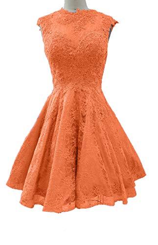 Charmant Orange Abendkleider Jungendweihe Mini Spitze Partykleider Damen Attraktive Kleider Satin Rock A Linie 4qga4w7r