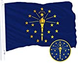 Cheap G128 – Indiana State Flag | 3×5 feet | Embroidered 210D – Indoor/Outdoor, Vibrant Colors, Brass Grommets, Quality Polyester