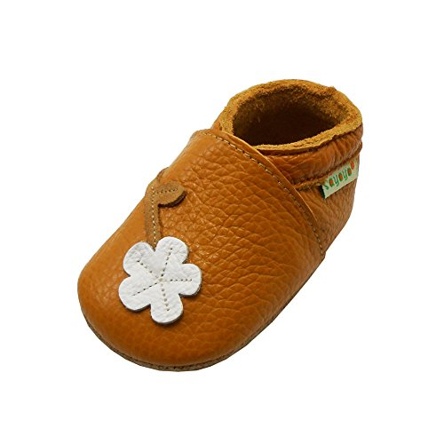 Sayoyo Baby Cute Plum Flower Soft Sole Leather Baby Shoes Baby Moccasins (12-18 months, Orange) ()