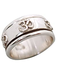 "Energy Stone ""OM"" Meditation Spinning Prayer Ring in Sterling Silver by Energy Stone (Style SR30)"
