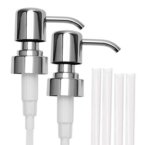 304 Stainless Steel Soap and Lotion Dispenser Pumps, 2 Packs, Replacement Pumps for Your Bottles Fit Standard 8oz / 16oz Boston Round 28/400 Neck Bottles]()