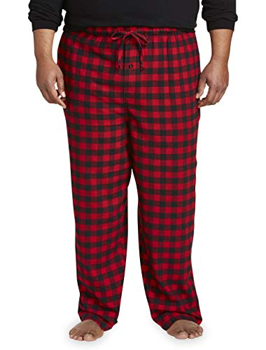 Amazon Essentials Men's Big & Tall Flannel Pajama Pant fit by DXL, Red Buffalo Plaid, 2X - Menswear Plaid Pant