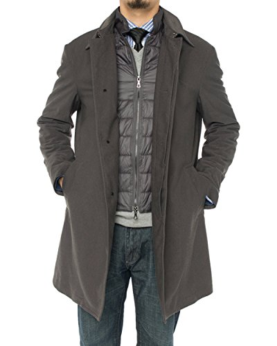 Double Breasted Worsted Wool Suit - LN LUCIANO NATAZZI Men's Modern Fit Insulated Lining Walker Coat (42 US - 52 EU, Charcoal Gray)