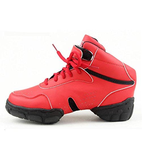 ZQ@QXModerno Fitness Gimnasia belleza zapatos aumentar la alta, transpirable, resistente al desgaste rojo zapatos de baile de gran tamaño gules