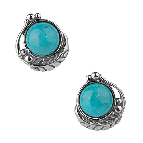 American West Sterling Silver & Gemstone Button Earrings - Classics Collection (Blue Turquoise)