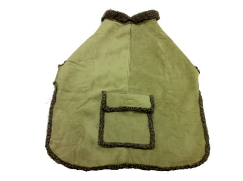 Coat Faux Suede Dog (CPC Faux Suede and Tipped Berber Coat/Jacket for Dogs, X-Small, Sage)