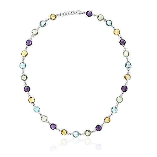 Gem Stone King 925 Sterling Silver 8MM Round Amethyst Blue-Topaz & Citrine 43.00 Carat Necklace 18 Inch