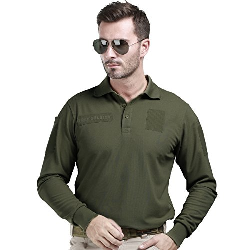FREE SOLDIER Men Shirts Long Sleeve Polo Shirt with Pocket 100% Coolmax Fabrics Breathable Shirt (Army green,XXL)