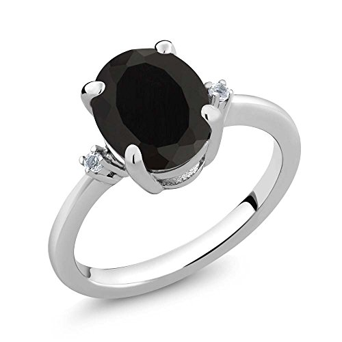 925 Sterling Silver Black Onyx and White Diamond Ring 2.22 cttw (Size 8)