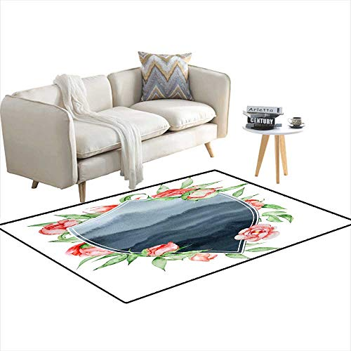 Extra Large Area Rug Watercolor Crest Romantic Frame wi Flowers Cartemplate 40
