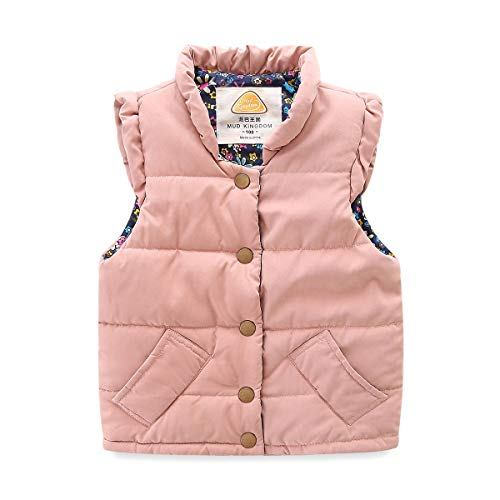 Mud Kingdom Little Girls Vests Outerwear Lightweight Cute Floral 4T Pink