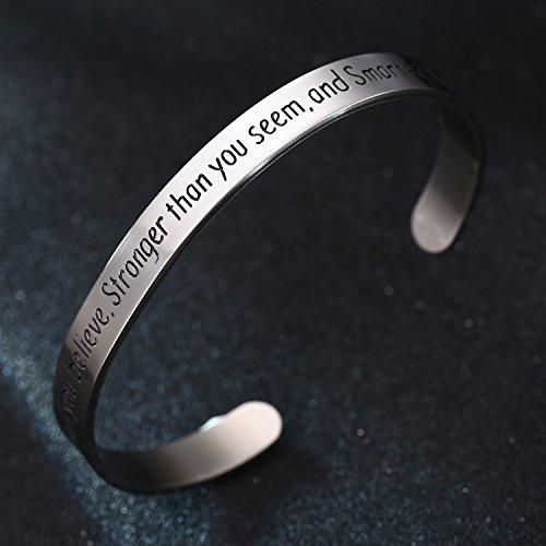 BESPMOSP You Are Braver Stronger Smarter Than You Think Cuff Bangle Bracelet Inspirational Cuff Band CUZB6STVN