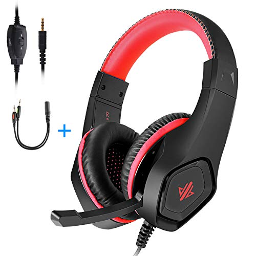 Gaming Headset,3.5mm Jack Over-Ear Headphone with Stereo Surround Sound,Noise-Canceling Microphone for PC,PS4,Xbox,Tablet,Smartphones,Great Gift for Kids,Teenagers(Red) ()