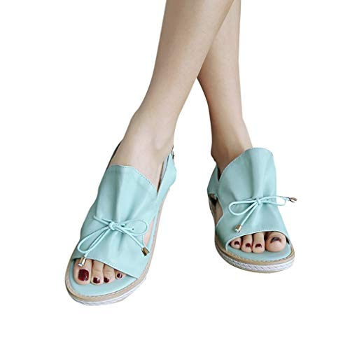 Amlaiworld Women Flatfrom Sandals Shoes Fashion Summer Ladies Belt Decorative Round Flat Comfortable Sandals Party Shoes Light ()