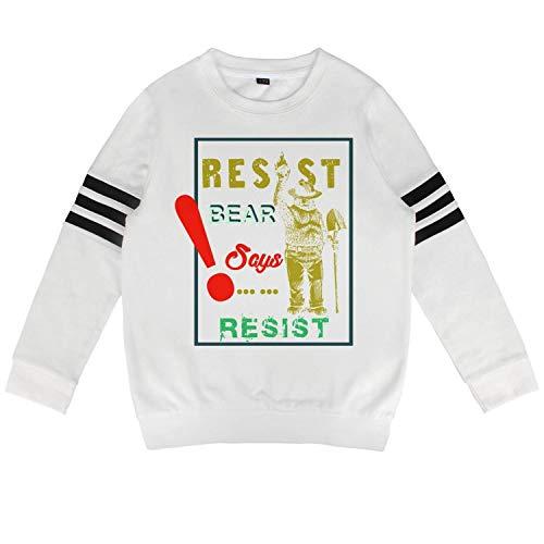 Daylight Baby Boy's White Crewneck Cotton Long Sleeve Pullover Sweatshirt Bear Says Resist Hoody Sweatshirt for Boys and Girls ()