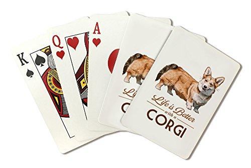 Corgi–Life Is Better–ホワイト背景(Playingカードデッキ–52カードPokerサイズwithジョーカー)
