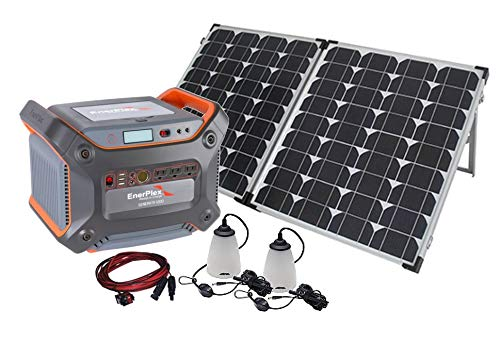 EnerPlex 1200 Solar Battery Generator Kit with 120W Mono-crystalline Solar Collector, 1000W Pure Sine Wave Inverter, Anderson M4 Connector ()