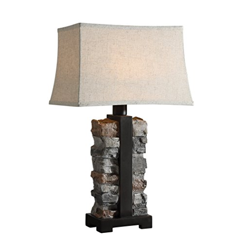 (My Swanky Home Rustic Indoor Outdoor Stacked Stone Table Lamp Concrete Iron Lodge Organic Shape)
