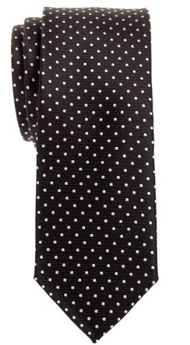 Retreez Modern Mini Polka Dots Woven Microfiber Skinny Tie - Black with White Dots ()