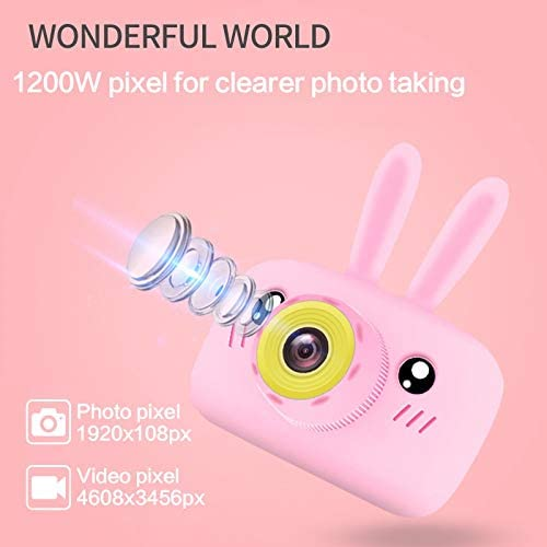HENGTONGTONGXUN Children Mini Camera Full HD 1080P 12MP Digital Video Photo Camera 2 inch Screen Display Kids Camera for Children Best Gifts Easy to use Color : Pink, Size : with 8GB SD Card