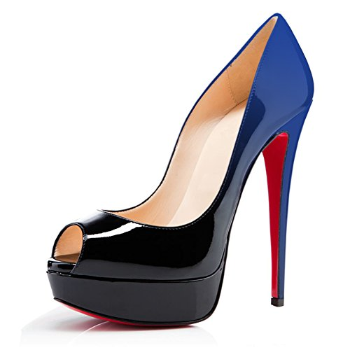 Toe Schuhe Slingbacks Heels MERUMOTE Plateausandalen Schwarz Blau High Damen Peep yBwH7Tfq
