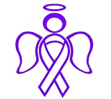 RIBBON ANGEL decal sticker support breast cancer, Purple