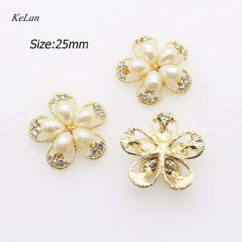 Crystal Cluster Button - DalaB Fashion 5pcs Metal Craft 25 mm Flower Cluster Crystal Pearl Button Wedding Ribbon Invitation Jewelry Parts - (Size: 5pcs)