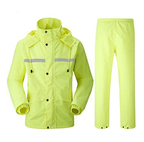 Nanxson(TM) Unisex 2 Pieces Raincoat Set of Jacket and Pant Rainwear WTM0052 (XL/ TagSize2XL, (2 Piece Yellow Raincoat)