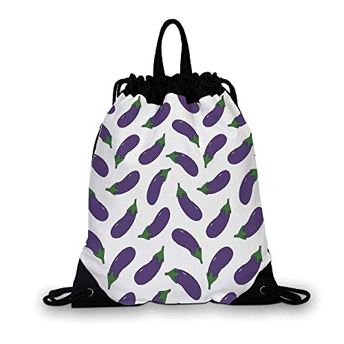 Eggplant Nice Drawstring Bag,Yummy and Funny Eggplants Kid Friendly Drawing Nutritious Meals Vegan Natural Decorative For hiking,7.4