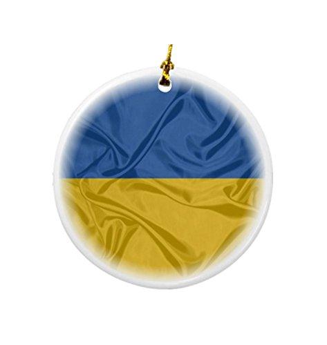 Rikki Knight Ukraine Flag Design Round Porcelain Two-Sided Christmas Ornaments