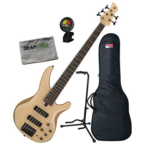 Yamaha TRBX605 5-String Flamed Maple Natural Satin Bass Guitar Bundle
