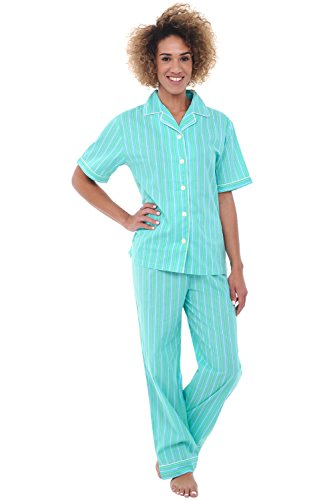 Alexander Del Rossa Womens Cotton Pajamas, Woven Pj Set with Pants, Large Green Striped (Striped Woven Cotton Pajamas)