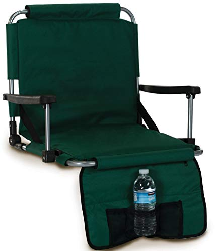 Picnic Plus Stadium Seat With Arms, Straps To Bench & Bleachers- Green ()