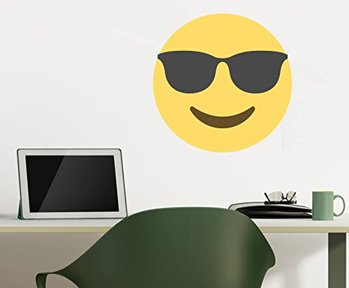 Emoji One Peel & Stick Wall Decal: Smiling Face With Sunglasses (12 in x 12 - Wall Sunglasses
