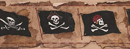 Wallpaper Border Pirates Skull Flag 9