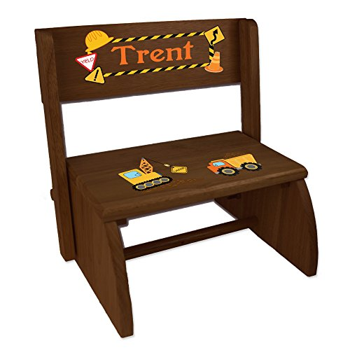 Personalized Construction Childrens and Toddlers Espresso Folding Stool