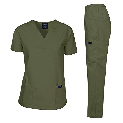 Unisex Cargo Scrub Pants - Dagacci Medical Uniform Women's Medical Scrub Set Top and Pant, Oliver Green, XXXXXL