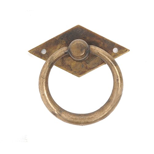 Bosetti Marella 100194.03 1900 Circa Brass Ring Pull with Back Plate, 1.97-Inch by 1.97-Inch, Antique Brass Distressed ()