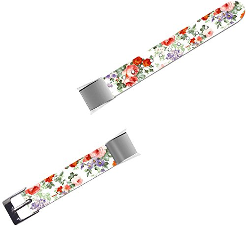 Band For Fitbit Alta HR - Leather Strap Replacement Compatible For Fitbit Alta / Alta HR Small & Large - Colorful for Girls Flower Floral Pattern by ENDIY