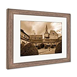 Ashley Framed Prints Cathedral of Santa Maria Assunta in Brixen, Italy, Wall Art Home Decoration, Sepia, 26x30 (Frame Size), Rustic Barn Wood Frame, AG32642684